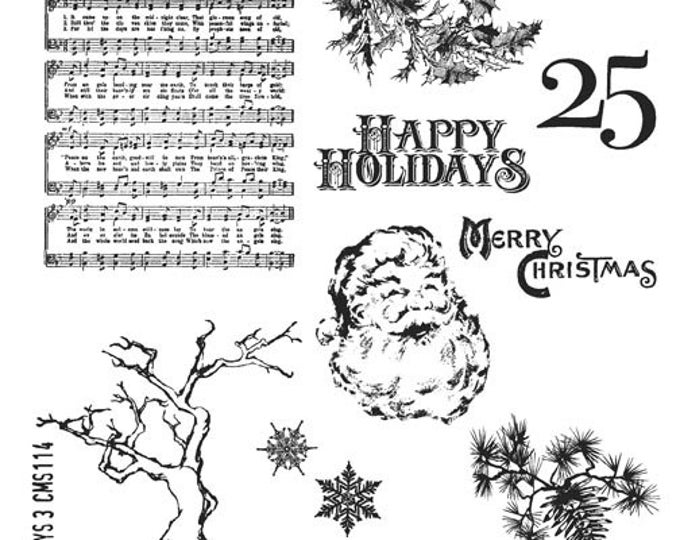 Tim Holtz MINI HOLIDAYS 3 Cling Mount Rubber Stamps Set CMS114 by Stampers Anonymous