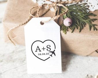 Custom Save The Date Stamp With Airplane, Destination Wedding Gift, Self Inking Stamp, Airmail Stamp, Monogram Stamp, Wedding Favor Stamp