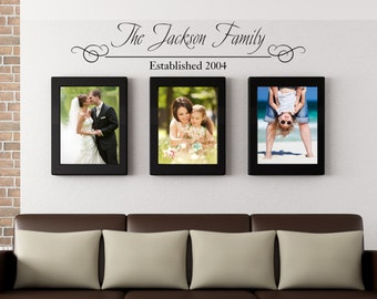 Family name, Established Date, family wall decal, family wall decor, family established date, family name decal, personalized vinyl
