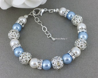 Swarovski Pearl Bracelet White and Light Blue Pearl Bracelet Bridesmaid Bracelet Bridesmaid Gift on a budget Maid of Honor Blue Bracelet