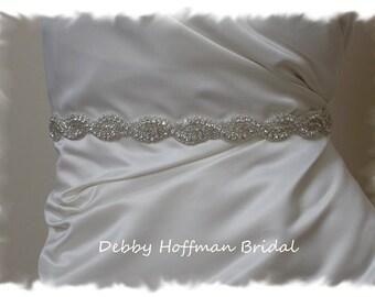 Bridal Sash, 24 Inch Rhinestone Crystal Wedding Dress Sash, Beaded Wedding Belt, Jeweled Bridal Belt,  No. 1126S-24, Wedding Belts & Sashes