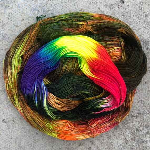 Autumn Rainbow BFL, indie dyed bluefaced leicester nylon sock yarn