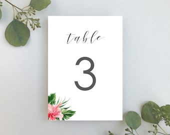 Wedding Table Numbers / Tropical Floral Suite / Hibiscus Beach Wedding / #1168