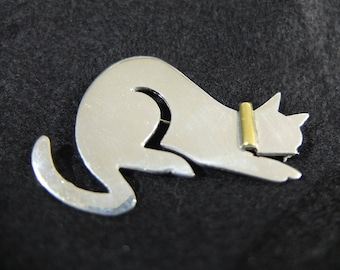 Vintage Mexican Sterling Silver and Brass  Cat Brooch