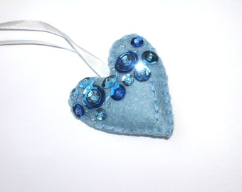 Heart ornament blue- felt ornaments - Valentine's day/Birthday/Christmas/Baby/It's a boy/Housewarming home decor