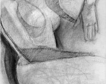 original charcoal drawing, Abstract Seated Female Figure, drawing, woman, life drawing, sketch, modern