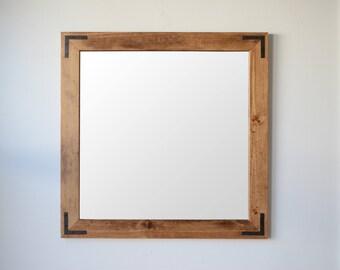 Wooden Mirror w/ Corner Brackets - Wall Mirror - Large Wood Mirror - Rustic Mirror - Farmhouse Mirror - Free Shipping