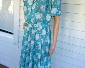 80s Print Dress Casual California Looks Petite XL L Vintage