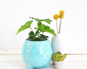 Mid Century Modern Planter / Sky Blue Speckled Planter / Vintage Footed Planter / Mid Century Egg Planter / Vintage Ceramic Planter