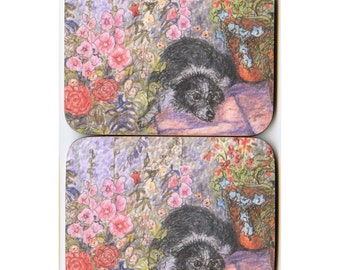 2 x Border Collie dog coasters garden flowers roses hollyhocks sheepdog pot plants delphiniums flagstones from Susan Alison painting