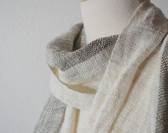 Handwoven Two Tone Crinkle Scarf in Bamboo, Hemp, Sparkle. Handspun & Millspun Threads, Handwoven Scarf, Fall Fashion Natural, White, Taupe