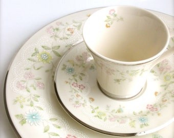 Gorham China Pastelle Dinner Plate Cup and Saucer Vintage China Replacement China Dinnerware Home and Living & Vintage China Lenox China Fair Isle Dinner Plate Cup and
