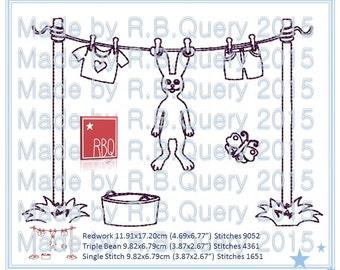 Stickerei-Design-Bunny auf einer Linie Trocknung Korb für Ostern Redwork - 5 x 7 dreifach Bean und einzelne 4 x 4 - Zip-Datei