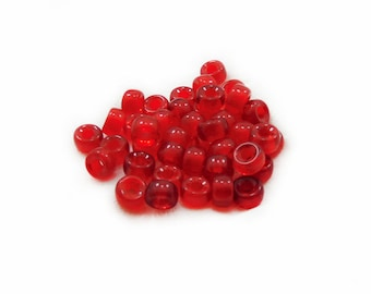 Red Rondelle Beads, Glass Beads, Rondelle Beads, Red Glass Beads, 10pcs Red Glass Beads, Jewelry Making, DIY Craft Supplies