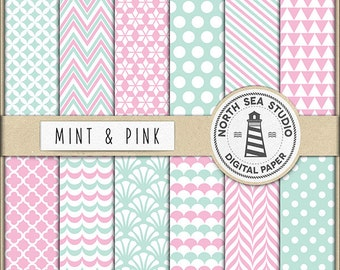 Mint And Pink Digital Paper Pack | Scrapbook Paper | Printable Backgrounds | 12 JPG, 300dpi Files | BUY5FOR8