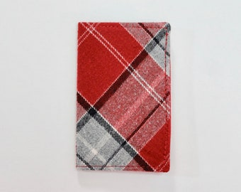Red and Gray Plaid Flannel Mini Wallet