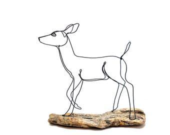 Doe Wire Sculpture, Deer Wire Sculpture, Doe Wildlife Wire Sculpture, Minimal Wire Sculpture, Deer Art, 571587491