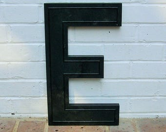 Huge Vintage Letter E Sign Vintage Marquee Letter E Hard Black Plastic E Sign 17 Inches Tall