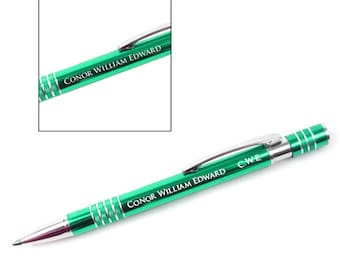 Custom Personalized Engraved Green Anodized 5 Ring Click-Top Pen, birthday, special occasion, Christmas gift, Item #334147