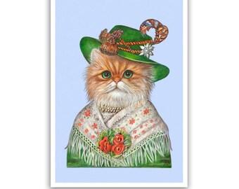 Miss Bavaria - Cat Art Print - Lovely Cat Gifts, Wall Decoration - Bavarian, Oktoberfest - Cat Portraits by Maria Pishvanova