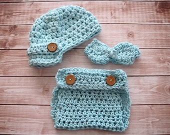 Crochet Baby Hat, Baby Boy Hat, Baby Newsboy Hat, Baby Bow Tie, Baby Diaper Cover Set, Newborn Bow Tie, Infant Boy Hat, Blue, Baby Beanie,