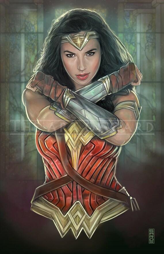 Gal Gadot as Wonder Woman High Quality Art Print