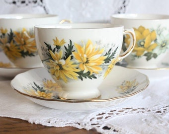 SALE - Cups and Saucers Vintage Bone China ~ Mismatched Tea Set ~ Royal Vale and Queen Anne Set of 3 ~ Yellow and Green Florals