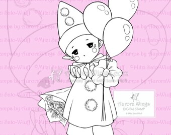 PNG Happy Pierrot Sprite - Aurora Wings Digital Stamp - Baby Clown with Balloons - Fantasy Line Art for Arts and Crafts by Mitzi Sato-Wiuff