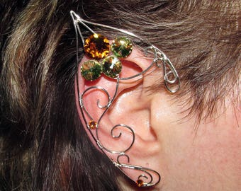 Sunny Afternoon Elf ears, ear jewelry for Elf costume, fantasy jewelry with Swarovski crystals, elvish jewelry, fantasy lover gift