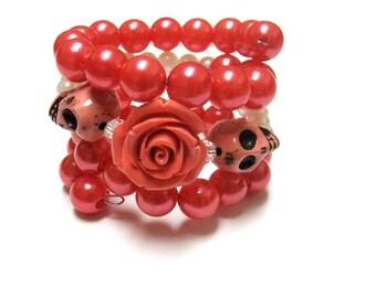 Coral Orange Sugar Skull Bracelet Day Of The Dead Jewelry Rose