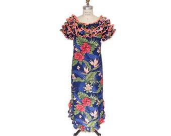 Hawaiian Muumuu Dress with Floral Print Ruffle Neck and Bottom with Salmon Color Contrast