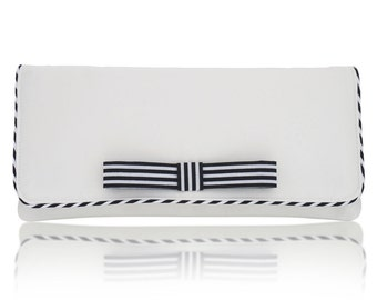 Ivory stripy Darcy satin clutch