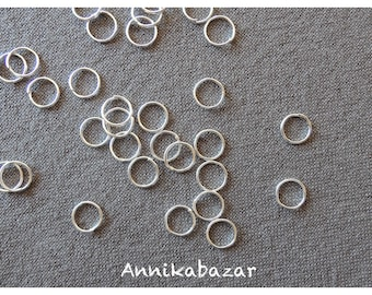 Set of 20 8mm silver-plated open jump rings