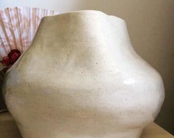 Ecru Abstract Vase