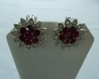 LISNER.  Silver tone costume clip earrings with red and clear rhinestones.  (642)