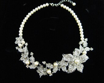 Floral Bridal Necklace, Swarovski Pearls, Choker, Ivory