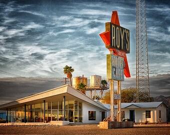 Route 66 Photography | Roy's Motel Art Print | Mid Century Modern Art | Mojave Desert | Large Wall Art | Man Cave Decor | 16x24