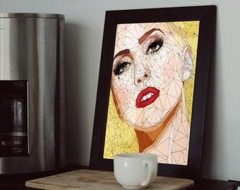 Lady Gaga Poster, Lady Gaga Print, Lady Gaga Art, Home Decor, Lady Gaga Art Print Canvas, Lady Gaga Gift, Pop Art, Joanne, Artwork Poster