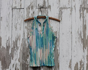 High neck vertical striped tank top, mandarin collar, blue, teal, green, lavender, light brown, white stripes, small