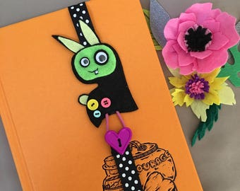Black monster bookmark for kids book