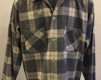 """Men's Wool Plaid Shirt Vintage 1950's Tag Size L Made By """"Monterey"""""""