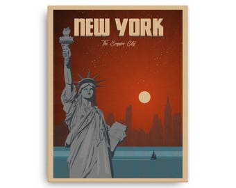 New York | The Empire City | Vintage Travel Poster | on Canvas (16x20in)