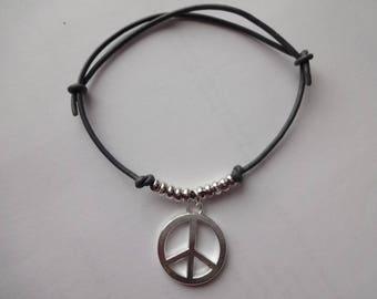 Leather Cord Peace Charm Necklace or Bracelet- Choose Colour