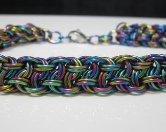 Chainmaille Bracelet - Kinged Vipera Berus Chainmaille Bracelet in Rainbow Anodized Niobium - chainmail, chain mail, hypoallergenic jewelry