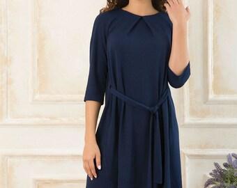 Dark blue dress Boho dress Navy Blue dress Asymmetric dark blue dress Spring dress Autumn dress woman dress Every day Folds A - line dress