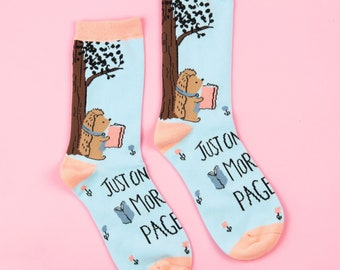 Hedgehog Book Socks   Book socks, hedgehog socks, women's socks, cute socks, crew socks, gifts for her, women's fashion