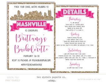 Nashville Bachelorette Party Glitter Invitation and Itinerary - NASHVILLE Bachelorette Party - Printable Invitation