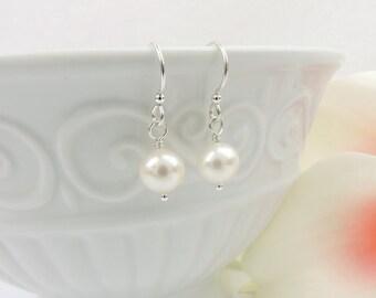FREE US Ship Sterling Silver AAA Freshwater Pearl Drop Earrings Simple Pearl Bridal Earrings Pearl Bridemaid Earrings Bridesmaid Gift