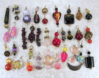 Lot 32 Pc Earring Dangles Singles Stone Art Glass Faceted Pendants Moonglow Cateye Black Red PurplePink  Amethyst Chip Jewelry Charms Crafts