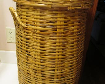 Vintage Woven Lidded Basket/Laundry/Umbrella Stand With Handles